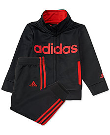 adidas Little Boys 2-Pc. Black Linear Tricot Track Suit