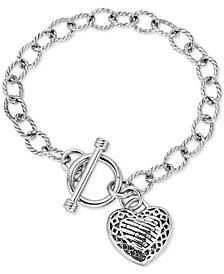 Heart Charm Link Bracelet in Sterling Silver