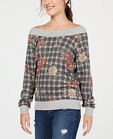 American Rag Juniors' Printed Off-The-Shoulder Sweatshirt, Created for Macy's