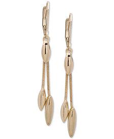 Anne Klein Gold-Tone Chain & Oval Drop Earrings