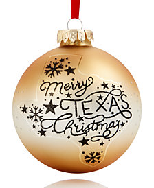 Holiday Lane Texas Glass Ball Ornament, Created for Macy's