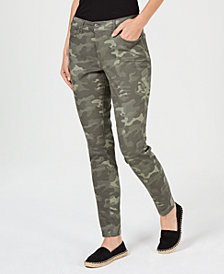 Style & Co Petite Camo-Print Tummy-Control Jeans, Created for Macy's