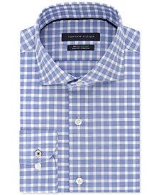 Tommy Hilfiger Men's Classic/Regular Fit Non-Iron Stretch Pink Check Dress Shirt