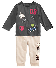 First Impressions Baby Boys Patches-Print T-Shirt & Cool Dude Jogger Pants, Created for Macy's