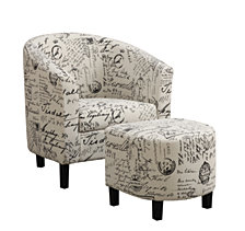 Holliswood French Script Accent Chair with Ottoman