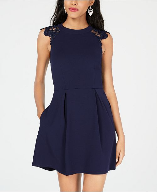 Juniors' Lace Navy Fit Contrast Dress Flare Speechless amp; OTqdT