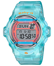 Baby-G Women's Digital Blue Jelly Strap Watch 42.6mm