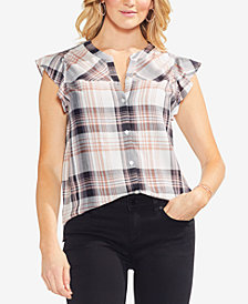 Vince Camuto Ruffled Plaid Shirt