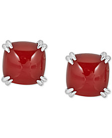 Red Agate Curved Claw Stud Earrings in Sterling Silver