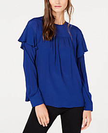 Marella Pleated Ruffled Top