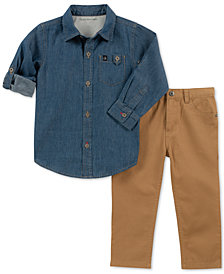 Calvin Klein Little Boys 2-Pc. Denim Cotton Shirt & Pants Set