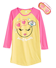 Max & Olivia Little & Big Girls Sweet Dreams Graphic Nightgown & Eye Shade