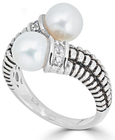 Cultured Freshwater Pearl (7mm) & Diamond Accent Bypass Ring in Sterling Silver