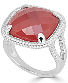 Red Agate Twist Frame Statement Ring in Sterling Silver