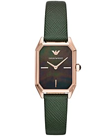 Women's Green Leather Strap Watch 24x36mm