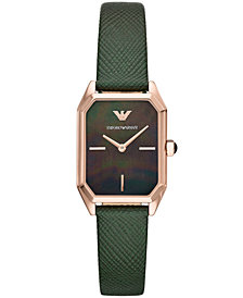 Emporio Armani Women's Green Leather Strap Watch 24x36mm