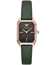 Emporio Armani Women's Green Leather Strap Watch 24x36mm