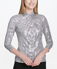 Calvin Klein Twisted Mock-Neck Top