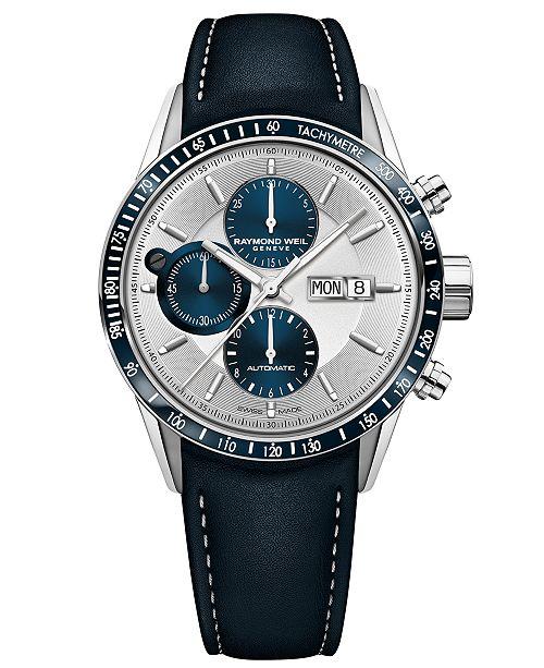 Raymond Weil Men's Swiss Automatic Chronograph Freelancer 500 Black Leather Strap Watch 42mm