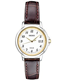 Women's Solar Essentials Brown Leather Strap Watch 28mm