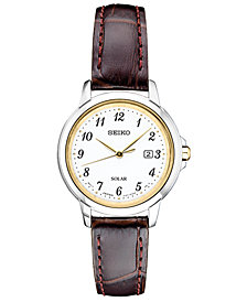 Seiko Women's Solar Essentials Brown Leather Strap Watch 28mm