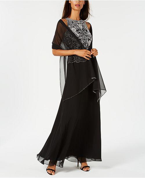11b3677132c J Kara Beaded Gown   Chiffon Scarf   Reviews - Dresses - Women - Macy s
