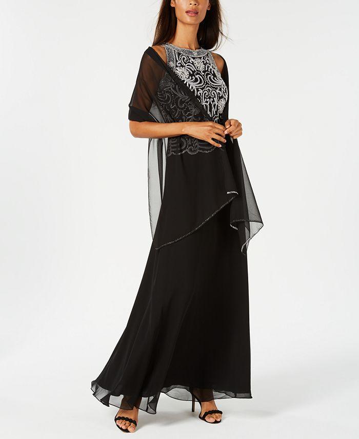 J Kara - Beaded Gown & Chiffon Scarf