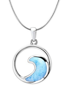 "Marahlago Larimar Wave 21"" Pendant Necklace in Sterling Silver"