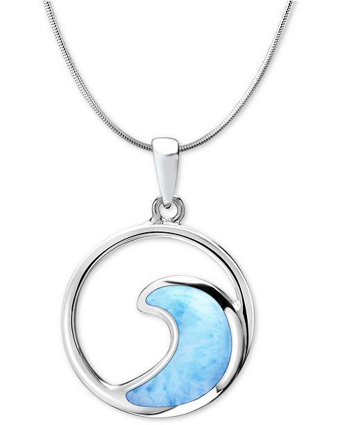 "Marahlago Larimar Wave 21"" Pendant Necklace in Sterling Silver"