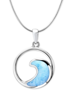 """Larimar Wave 21"""" Pendant Necklace in Sterling Silver"""
