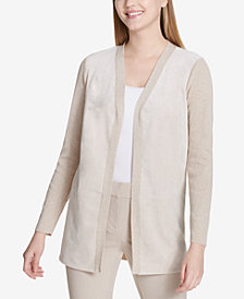 Calvin Klein Faux-Suede Ribbed Cardigan