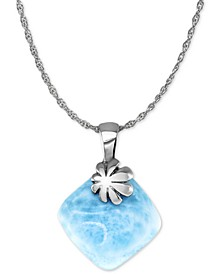 "Larimar Flower 21"" Pendant Necklace in Sterling Silver"
