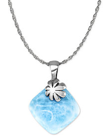 "Marahlago Larimar Flower 21"" Pendant Necklace in Sterling Silver"