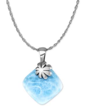 "Larimar Flower 21"" Pendant Necklace in Sterling Silver"