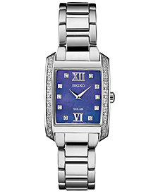 Seiko Women's Solar Diamond Collection Diamond-Accent Stainless Steel Bracelet Watch 24mm