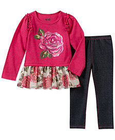Kids Headquarters Baby Girls 2-Pc. Rose Tunic & Denim Leggings Set