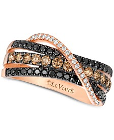Le Vian Exotics® Diamond Crisscross Ring (9/10 ct. t.w.) in 14k Rose Gold