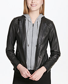 Calvin Klein Faux-Leather Hoodie Jacket