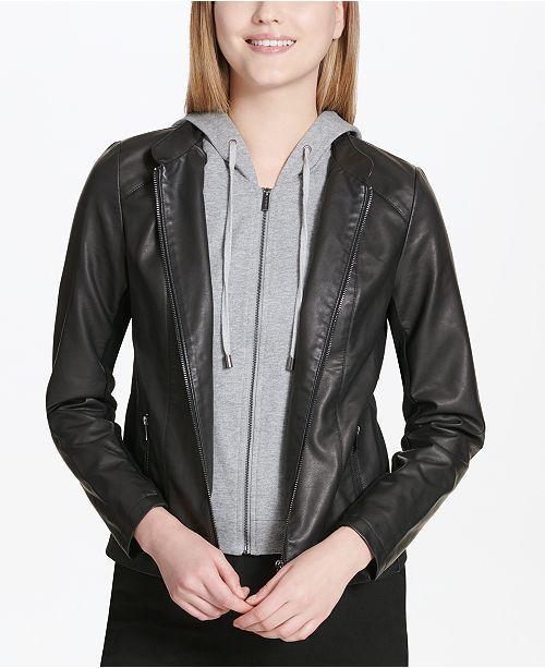 b859e215609b Calvin Klein Faux-Leather Hoodie Jacket   Reviews - Jackets ...