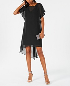 Chiffon-Overlay A-Line Dress