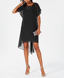Adrianna Papell Chiffon-Overlay A-Line Dress