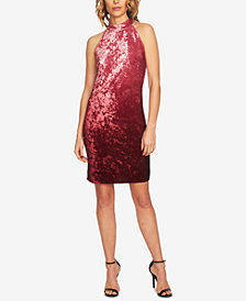 CeCe Ombre Velvet Halter Dress
