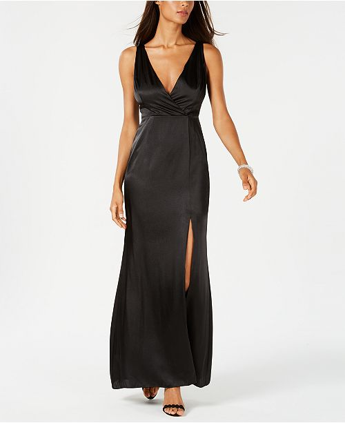 f54aa2ac9be6 Adrianna Papell V-Neck Satin Slit Gown   Reviews - Dresses - Women ...