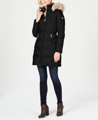 Petite Faux-Fur-Trim Puffer Coat