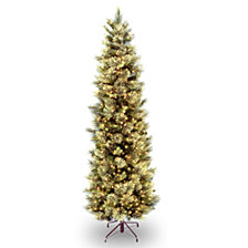 National Tree 7 .5' Carolina Pine Slim Tree with Flocked Cones & 600 Clear Lights
