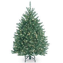 National Tree 4 .5' Dunhill®  Blue Fir Hinged Tree w/ Clear Lights