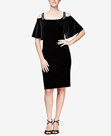Alex Evenings Petite Velvet Embellished Cold-Shoulder Dress