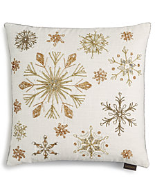 """Lacourte Glam Snowflakes 20"""" Square Decorative Pillow, Created for Macy's"""