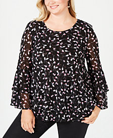 Alfani Plus Size Printed Mesh Bell-Sleeve Top, Created for Macy's