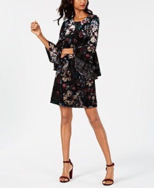 Nine West Velvet Burnout Bell-Sleeve Dress, Created for Macy's